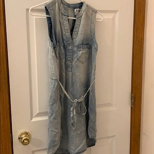 Holding horses faded denim dress with tie waist